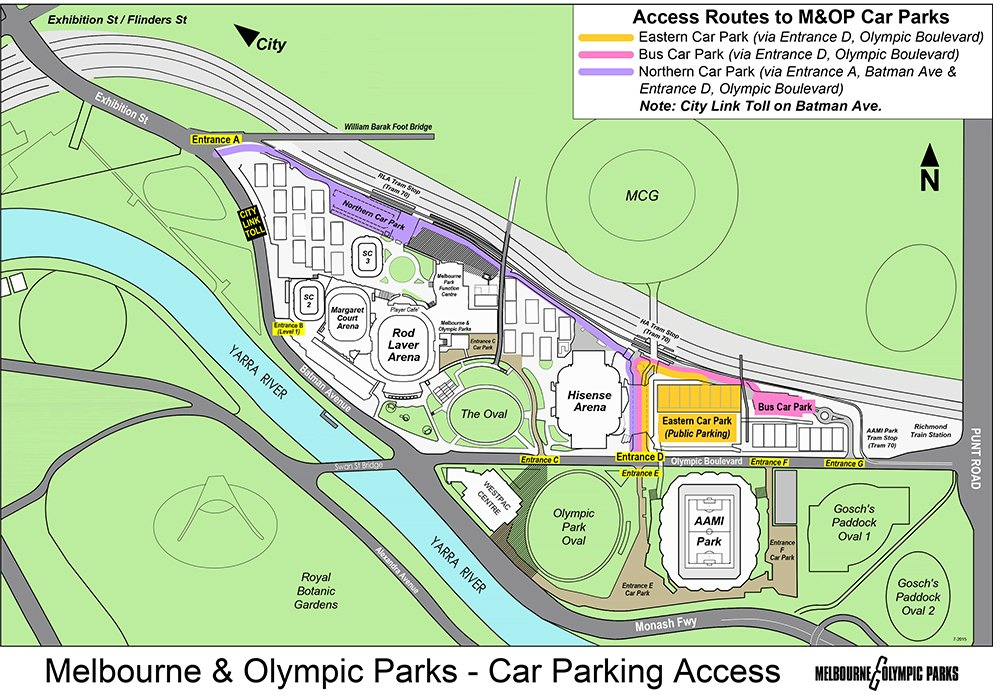 Melbourne and Olympic Parks Grounds Map