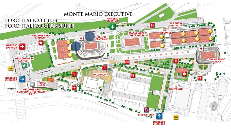 Italian Open Foro Italico Grounds Map