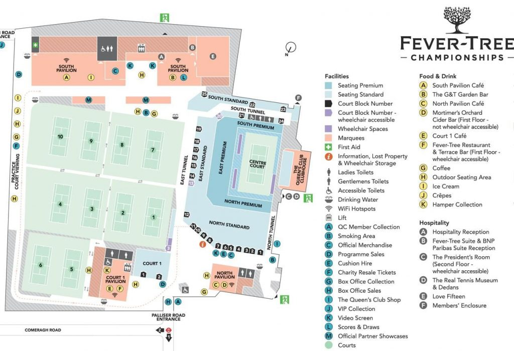Queens Club Championships Grounds Map