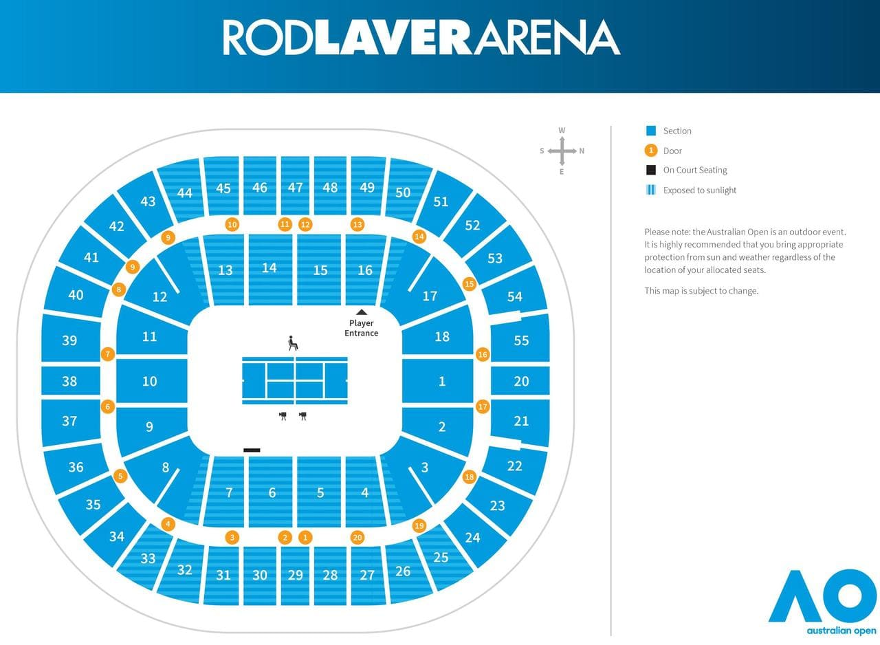 Rod Laver Arena Seating Map