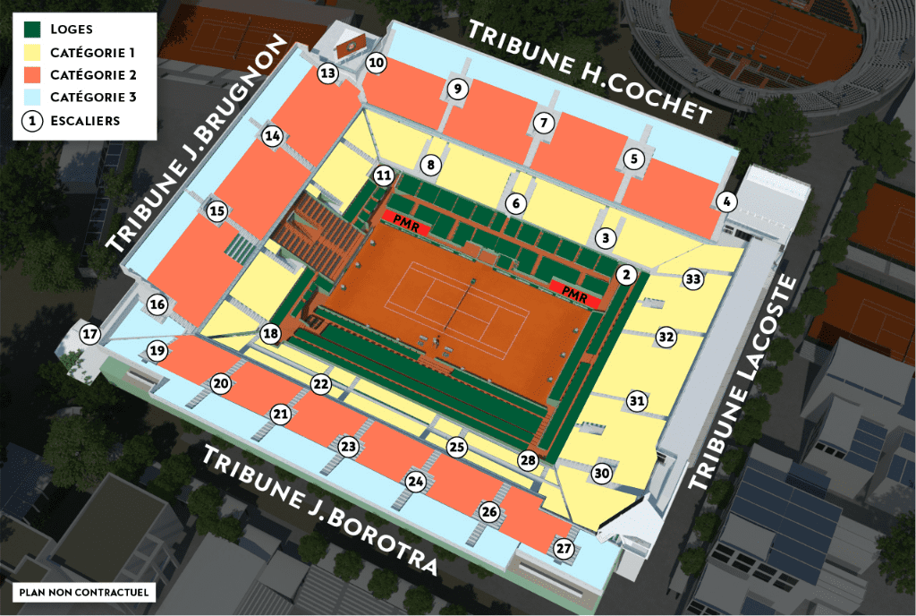 Roland Garros Philippe-Chatrier Court Seating Map